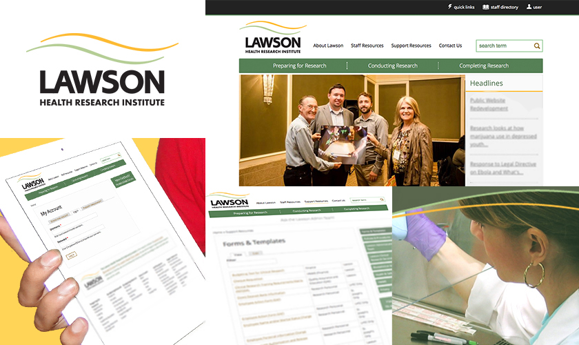 Images representing the Lawson Health Research Institute website