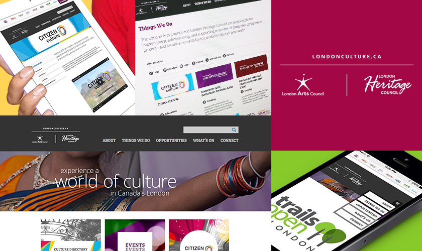 Images representing the LondonCulture.ca website, for the London Arts Council and London Heritage Council