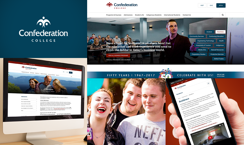 Images representing the Confederation College website.