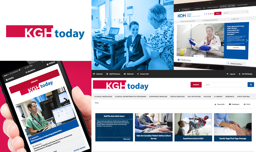 Images representing the Kingston General Hospital website.