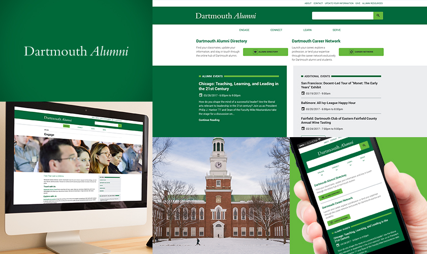 Images representing the Dartmouth College Alumni website.