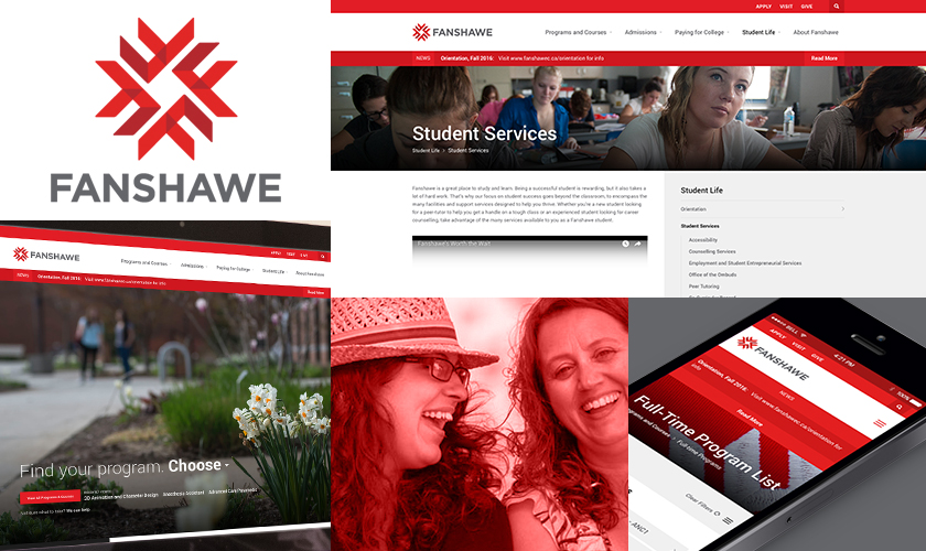 A visual representation of the Fanshawe College Website.