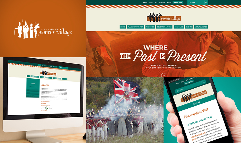 Images representing the Fanshawe Pioneer Village website.