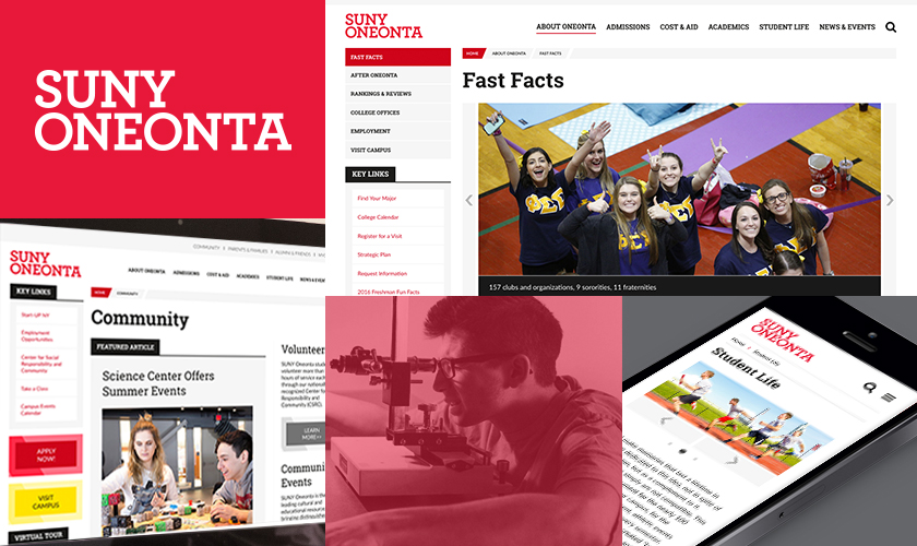 SUNY Oneonta screen images collage