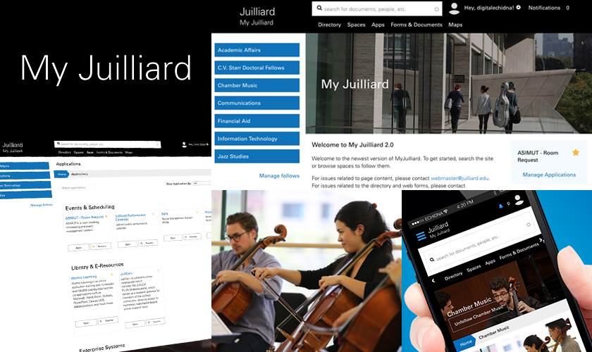 collage of screen images from My Juilliard website
