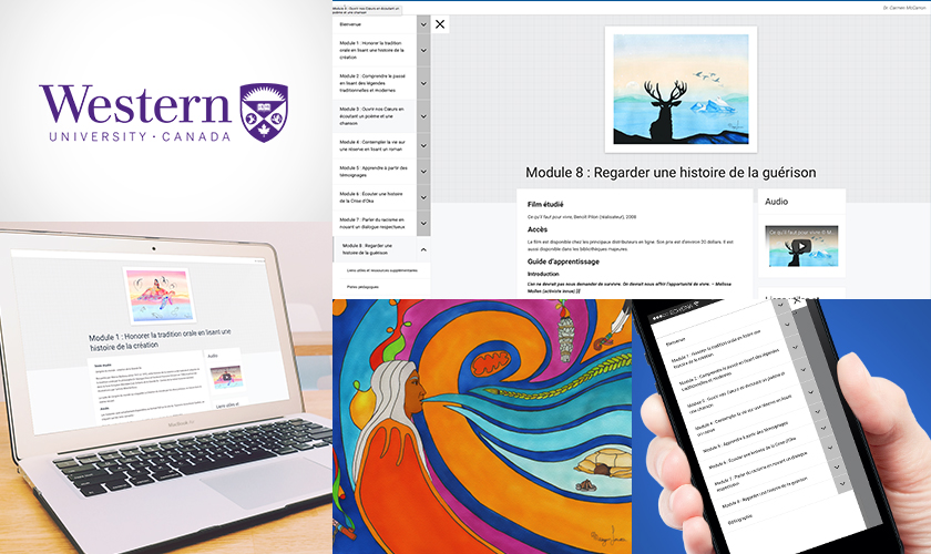 collage of work screens and Western University logo