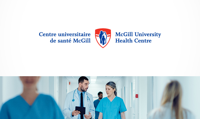 MUHC logo over picture of doctor