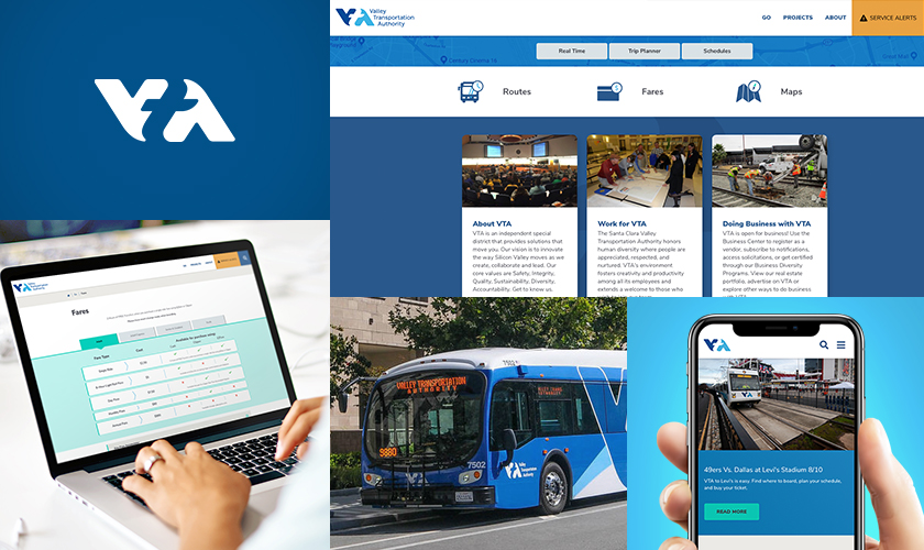 Compilation of VTA logo with screenshots of VTA website design