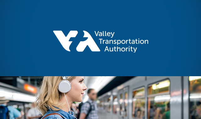 VTA Santa Clara Valley Transportation Authority logo with person riding the bus