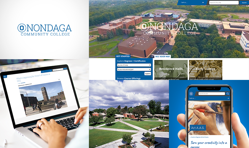 SUNY Onondaga website photo collage with logo