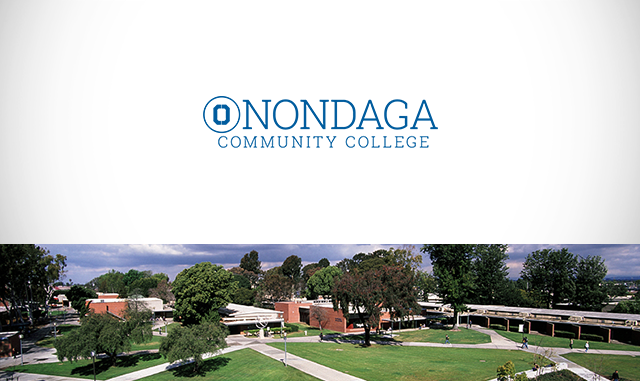 SUNY Onondaga logo and photo of the campus