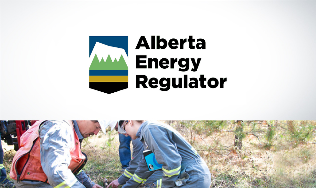 Alberta Energy Regulator logo and image of people working in safety vests