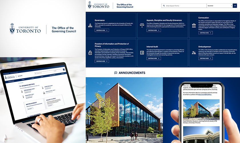 University of Toronto Office of the Governing council website screenshot on mobile and laptop display