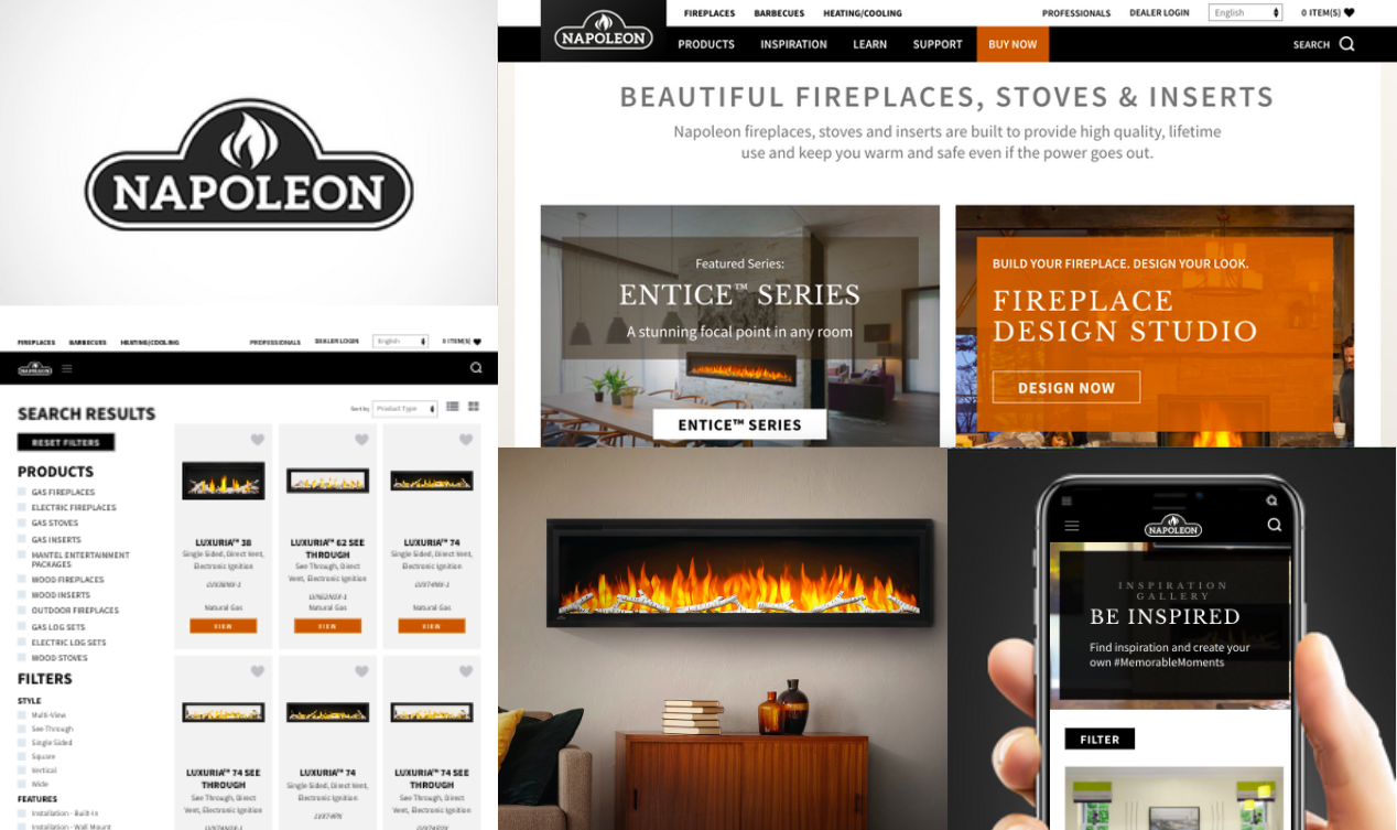 Napoleon Fireplaces logo, fireplace, website view on different screens