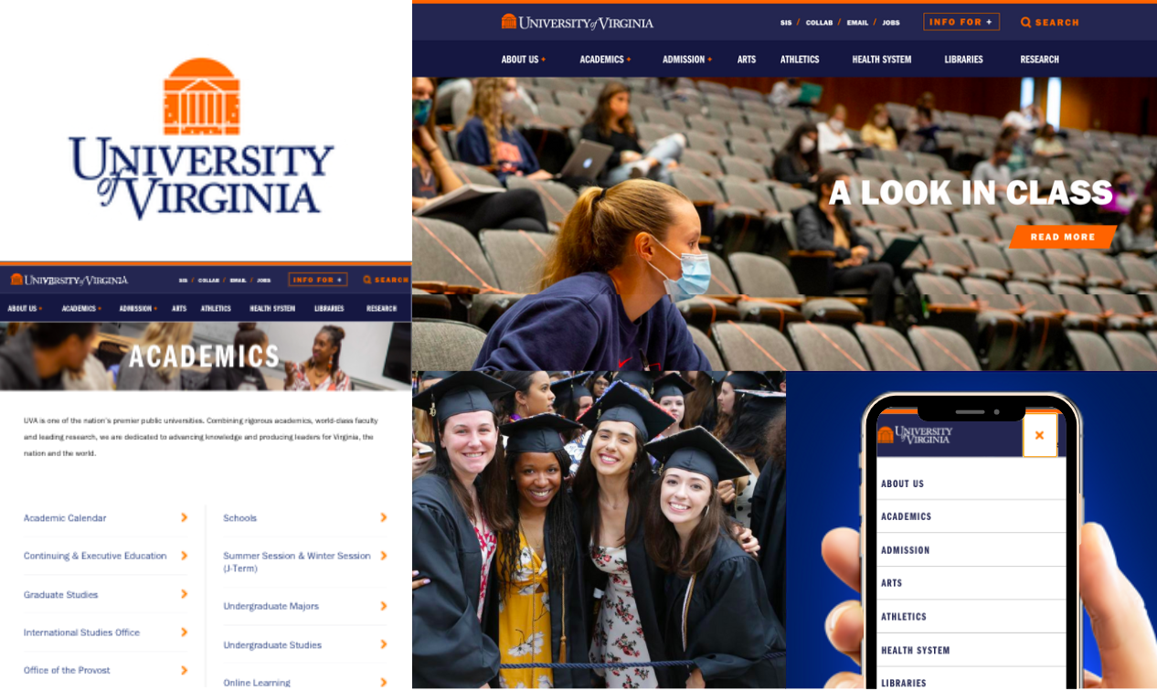 University of Virginia logo, website homepage, mobile screen, and graduates