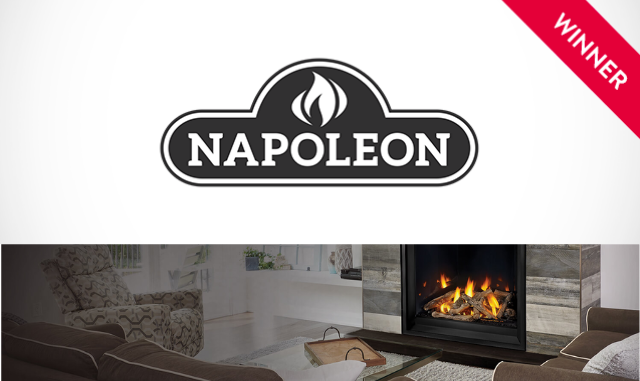 Napoleon Fireplaces logo with fireplace and winner badge