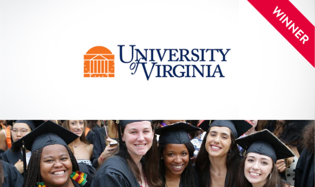 University of Virginia logo and photo of graduates